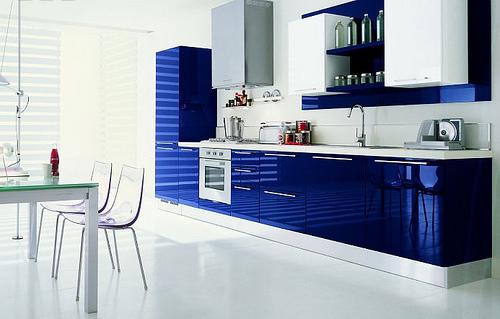 2019 Mavi Renklere Sahip Mutfak Dolabı