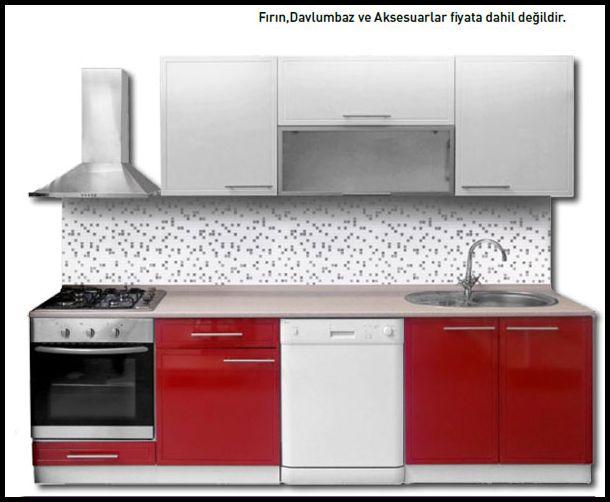 Hazır mutfak dolapları kırmızı