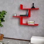 Kırmızı duvar rafları ve modelleri