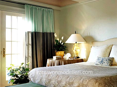 Yatak odası perde ve tül perde modelleri