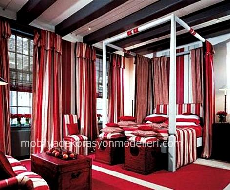 Kirmizi beyaz yatak odasi perde ve tul modeli