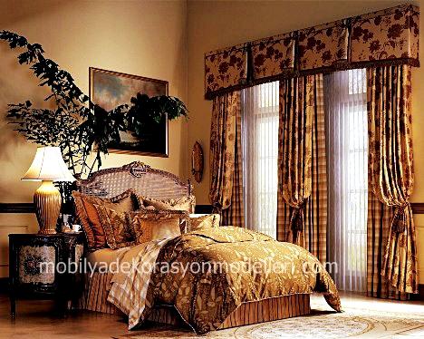 Kirmizi desenli yatak odasi perde ve tul modeli