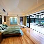 Lüsk evlerin sade yatak odası tasarımı