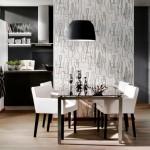 Mutfaklar için gri beyaz duvar kağıdı modelleri