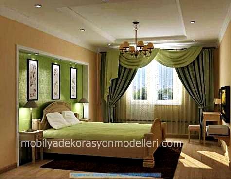 Odanin rengine uygun yesil yatak odasi perde modeli
