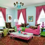Mavi pembe salon dekorasyon örneği