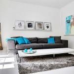 Mavi gri salon dekorasyon modelleri