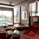 Kırmızı kahverengi salon dekorasyon modelleri