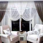 Modern beyaz salon perde modelleri