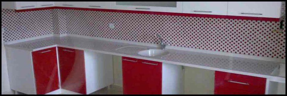 Mermerit mutfak kırmızı model