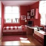 Kırmızı genç odası dekorasyonu