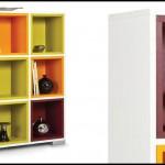 Renkli bölmeli kitaplık modeli