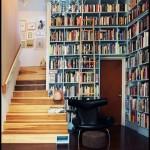 Geniş merdiven üstü kitaplık modellrei