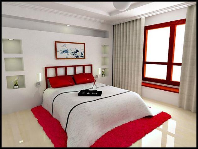 Kırmızı beyaz yatak odası