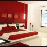Kırmızı krem yatak odası