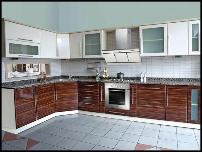 ahşap rengi akrilik mutfak dolabı
