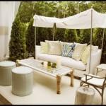 Bauhaus beyaz bahçe mobilyaları