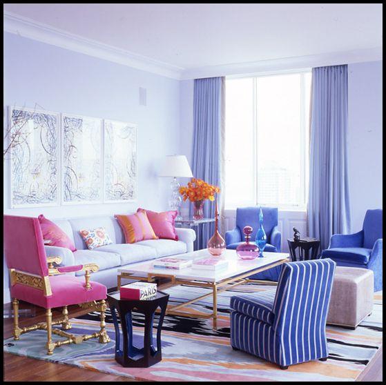 Mavi pembe salon dekorasyonu