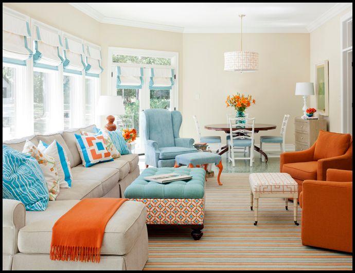 Mavi turuncu salon dekorasyonu