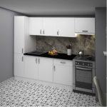 Tekzen fly 220 cm göcek mutfak dolabı beyaz melamin