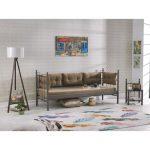 Tekzen unimet lalas metal sofa sedir 90x200 kahverengi
