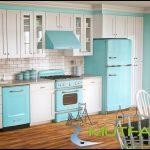 Vintage mavi beyaz mutfak