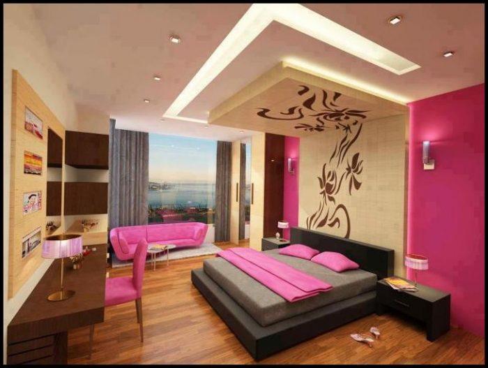 Pembe yatak odası asma tavan