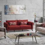 İpek mobilya koltuk takımı  kırmızı bej impala