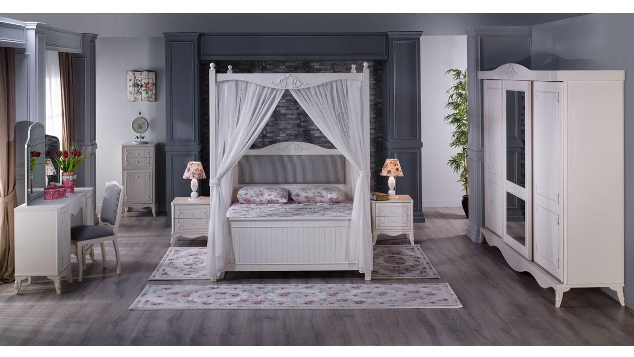 İstikbal sürgülü dolaplı beyaz yatak odası takımı