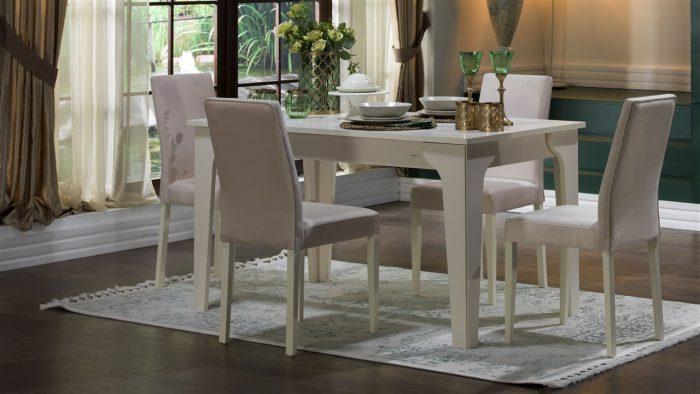 Bellona beyaz masa sandalye takımı  sementa