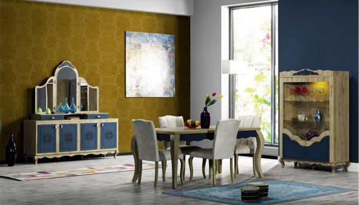 İpek mobilya yemek odası dekorasyonu mavi