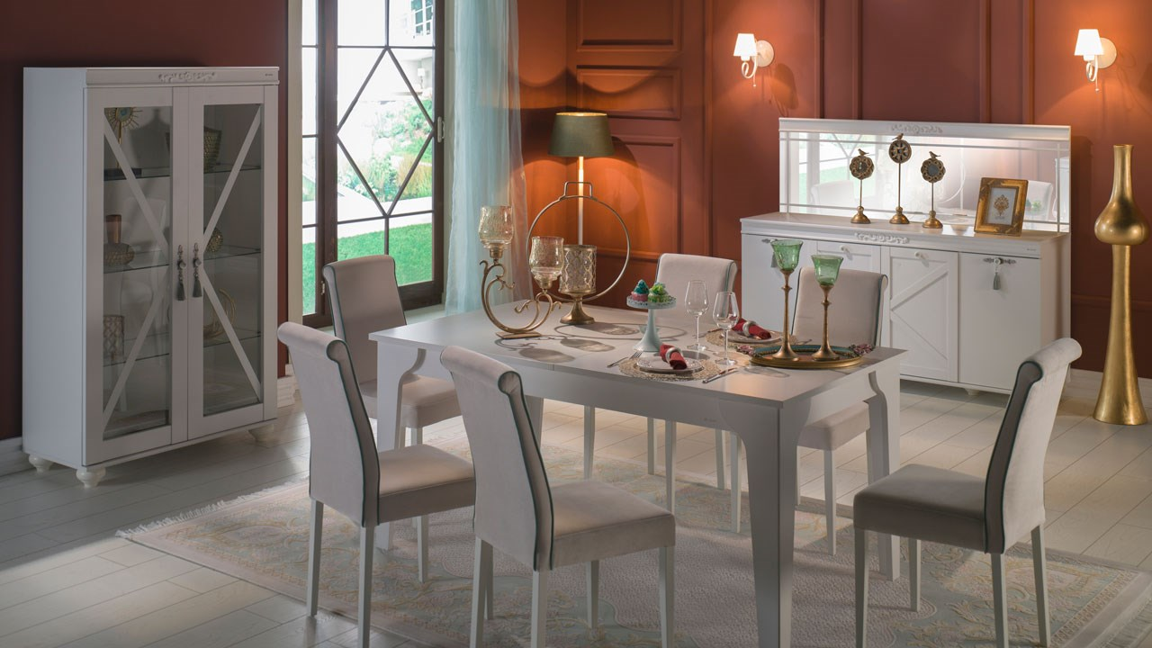İstikbal mobilya yemek odasi takımı dekorasyonu side krem