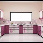 Pembe mutfak dolapları