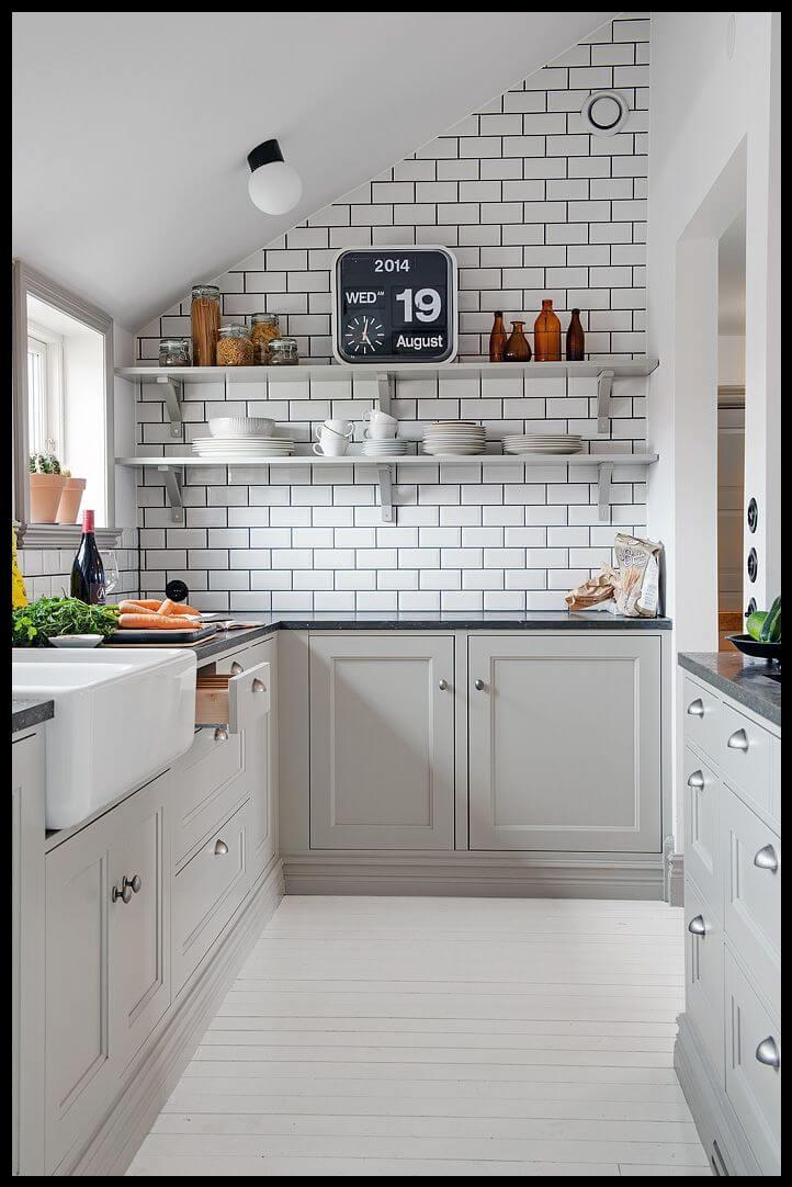 Açık gri mutfak tasarımları