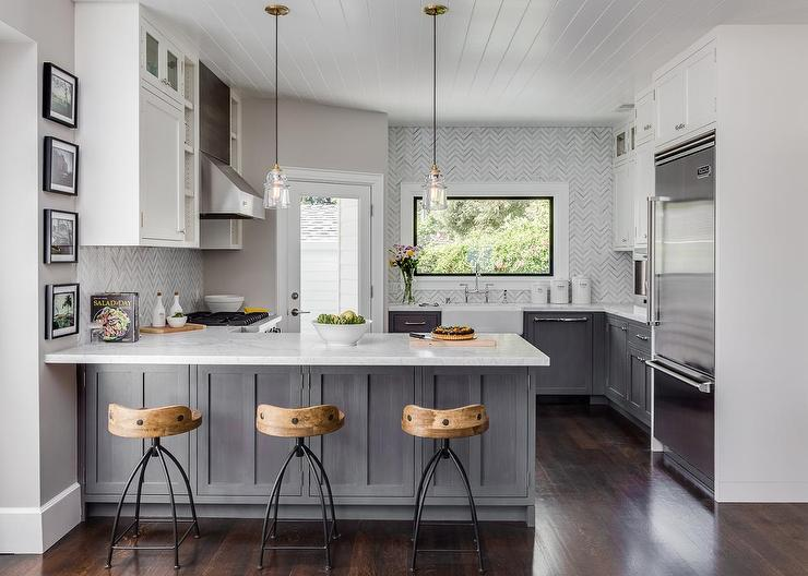 Gri krem mutfak dekorasyonu