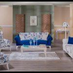 Mavi çiçek motifli koltuk kumaşları
