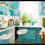 Turkuaz mavisi mutfak dolapları