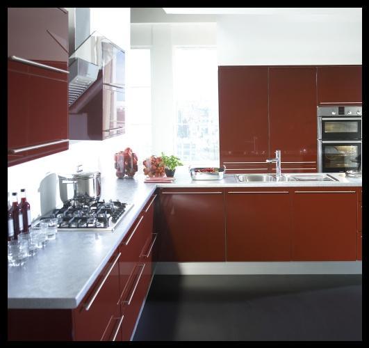 Bordo beyaz mutfak