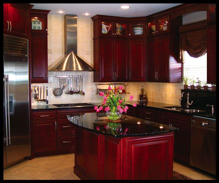 Bordo renk mutfak modelleri