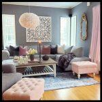 Pembe gri oturma odası