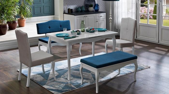 diana mondi mavi mutfak masa sandalye takımı