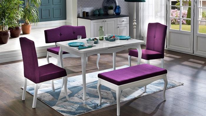 diana mondi mor mutfak masa sandalye takımı