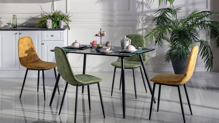 silva mondi siyah mutfak masa sandalye takımı