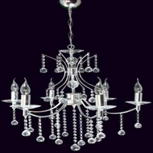Altılı mum ampullü kristal taşlı avize modeli