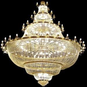 Altın sarısı metalli çok büyük kristal taşlı avize modeli