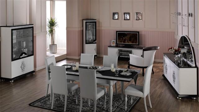 Diana yemek odası takımı   beyaz ve siyah