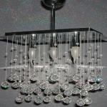 Dikdörtgen sarkıtmalı kristal taşlı avize modeli