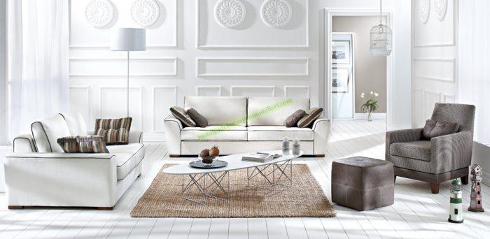 """Ambiance Salon Takımı 4.290 TL zıt kutupların çekici birleşimi Bir Doğtaş """"Trend Collection"""" tasarımı Üçlü ve ikili modüllerin yanı sıra berjer ve kare puftan oluşan asil görünümlü bir takım Ahşap ayaklarla sağlanan modern ve sıcak stil Düşen sırt mekanizması sayesinde kolayca yatağa dönüşebilen üçlü modül İsteğe göre yataklı veya yataksız üçlü modül seçenekleri"""
