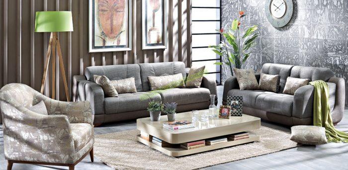"""Sono Salon Takımı 4.560 TL paris kadar zarif ve benzersiz Bir Doğtaş """"Trend Collection"""" tasarımı İkili, üçlü koltuk ve berjerden oluşan takım Özgün figürler ve şık desenler taşıyan kumaş kombinasyonları Eklektik bir tarz ve konforun birlikteliği Kolayca yatağa dönüşebilen ikili ve üçlü modüller Farklı form, ebat ve desendeki kırlentlerle zenginleşen model"""