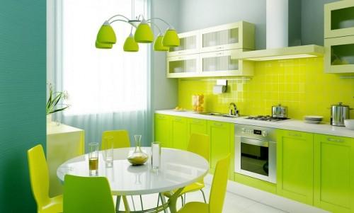Fosforlu yeşil- enkli modern ve canlı renklerle tasarlanmış renkli mutfak modeli